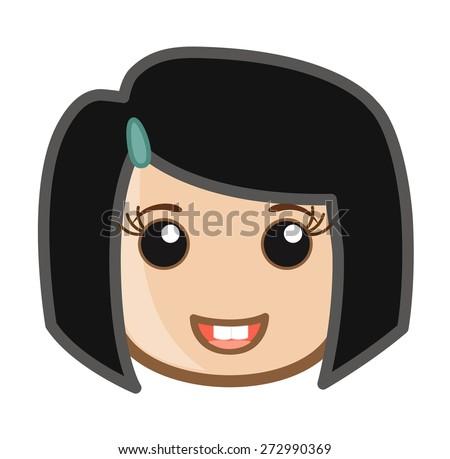 funny face little cartoon girl stock vector royalty free 272990369