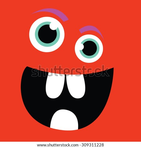 funny-faced monster - stock vector