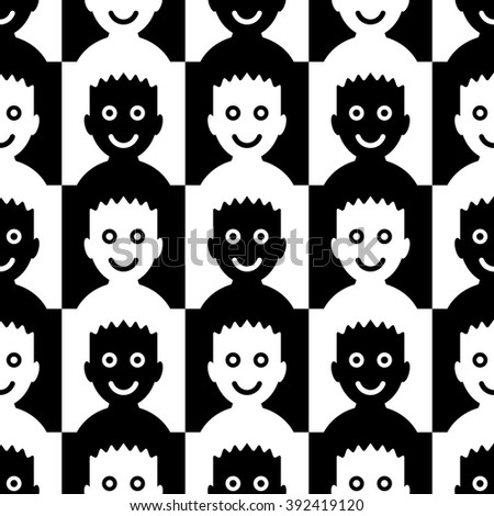 Funny Faces Chess Board. Seamless Black and White Background for Textile Design. Group of Smiled People. Vector Illustration - stock vector