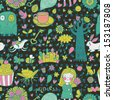 Funny fairytale seamless pattern with little princess, horse, magic tree, castle, frog, key, cake. Sweet vector background can be used in birthday design, children bedroom. - stock vector