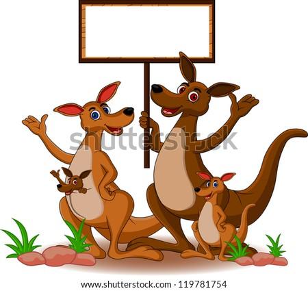 funny family kangaroo cartoon with blank board - stock vector