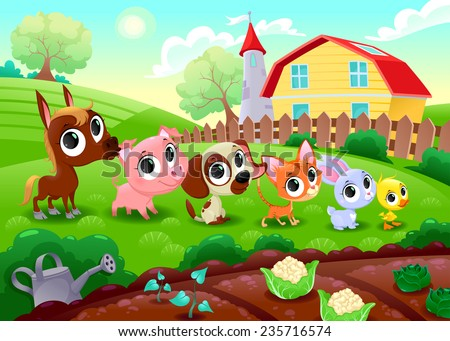 Funny farm animals in the garden. Vector cartoon illustration. - stock vector