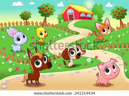 Funny farm animals in the garden. Vector cartoon illustration. - stock vector
