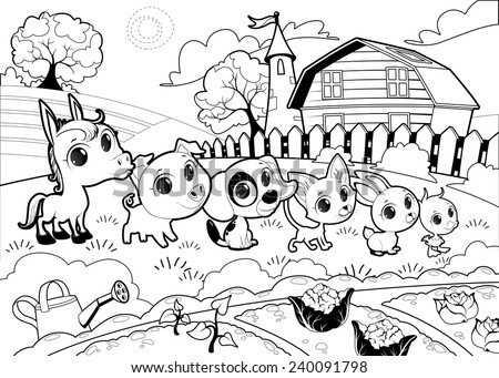 Funny farm animals in the garden. Vector cartoon illustration in black and white. - stock vector