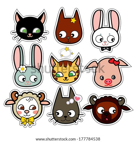 Funny farm animals in vector scrapbook  set isolated. Sheep, pig, dog, cat, rabbit in japan style. Nine cute childish cartoon animal stickers for scrapbooking - stock vector