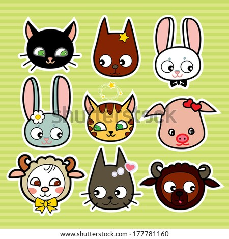 funny farm animals in vector set of funny cartoon animals