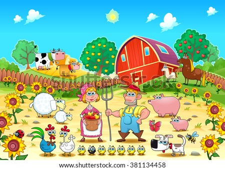 Funny farm scene with animals and farmers . Cartoon and vector illustration  - stock vector