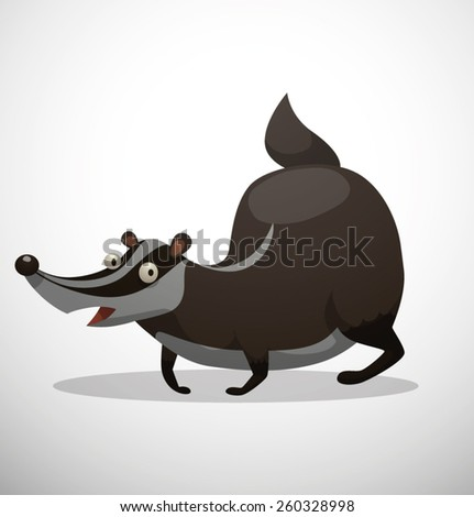 Funny Fat Badger, - stock vector