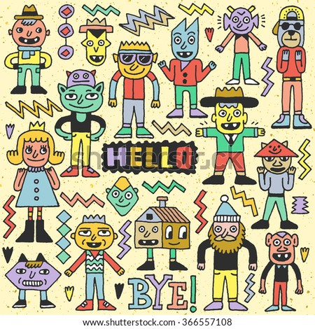 Funny Fictitious Doodle Characters Set 2. Vector Hand Drawn Color Illustration. - stock vector