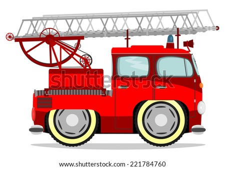 Funny firetruck. Vector illustration without gradients on one layer.
