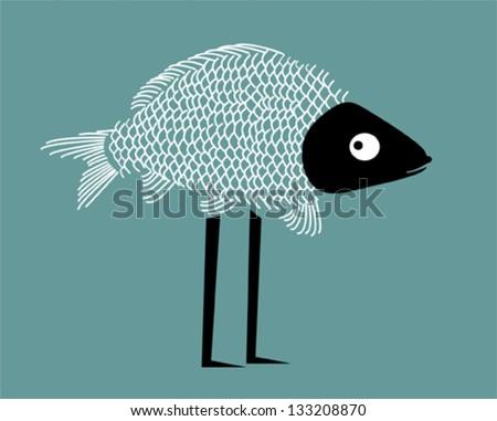 Funny fish - stock vector