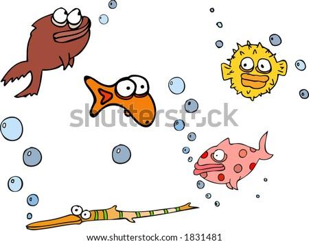 funny fish illustration - stock vector