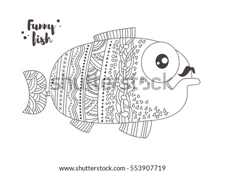 funny fish zentangle style coloring book for adult and kids antistress coloring pages - Coloring Book Fish