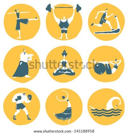 Funny fitness sportsmen. Vector icon set. - stock vector