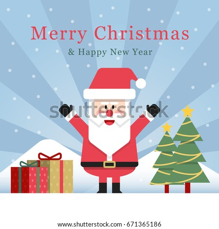 Attractive Funny Flat Design Santa Claus Celebrate Christmas With Tree And Snow  Mountain In The Background.