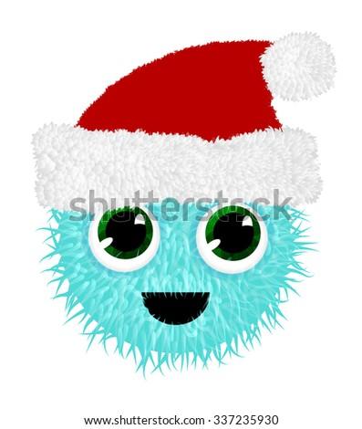 Funny fluffy crazy creature in Santa hat. Vector illustration. - stock vector