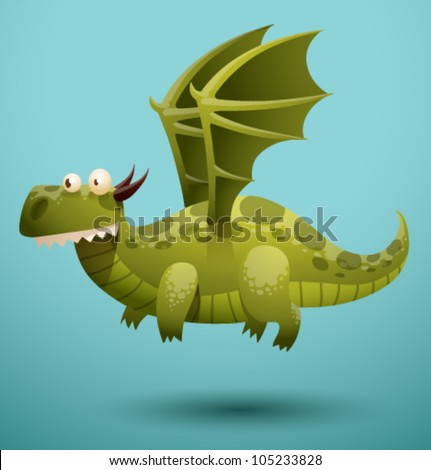 Funny flying dragon 1, vector - stock vector