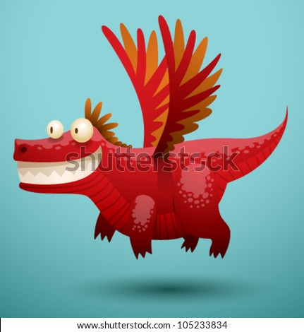 Funny flying dragon 2, vector - stock vector