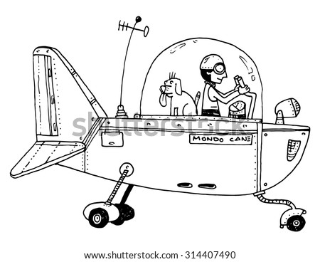 funny flying machine plane pilot and dog mechanical strange - stock vector