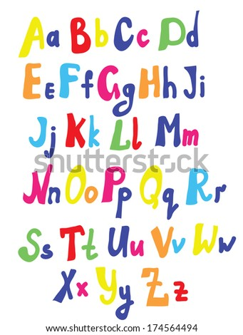 Funny font for kids cute design - stock vector