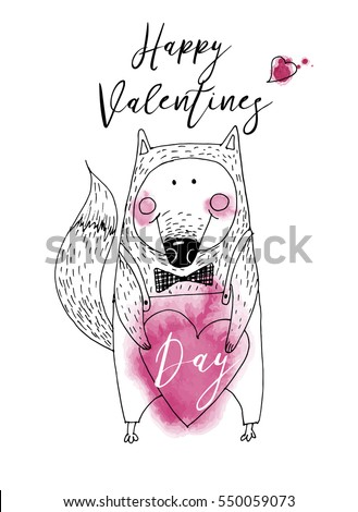 Funny fox. Happy valentine's day. Hand drawing vector sketshes.