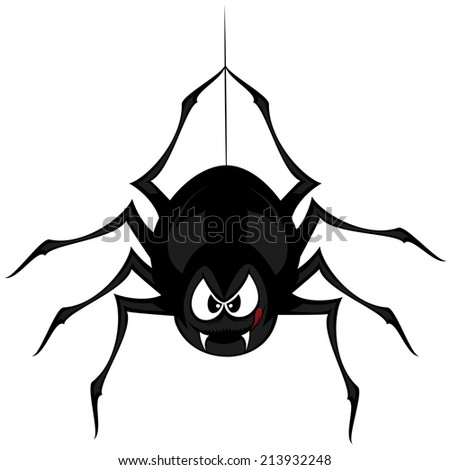 Funny freaky spider - a black cartoon-style spider is snarling and licking mouth with angry eyes while hanging on his spider thread - stock vector