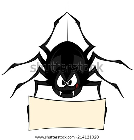 Funny freaky spider - a black cartoon-style spider is snarling and licking mouth with angry eyes while hanging on his spider thread and holding a board (your text can be placed there!) - stock vector