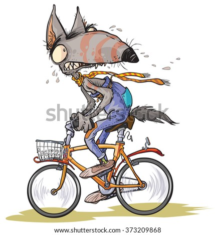 Funny frightened Wolf rides a bike.