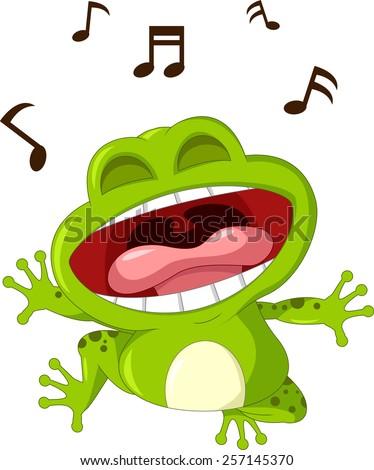 funny frog cartoon singing  - stock vector
