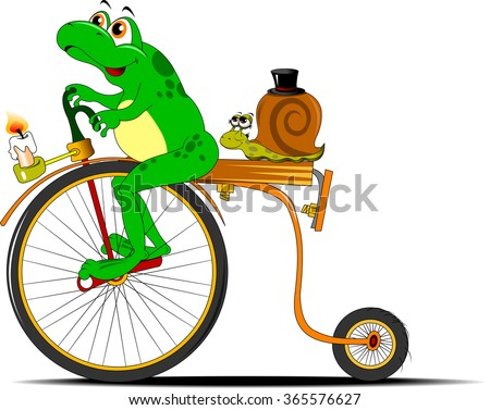 funny frog traveling on the old bike, vector