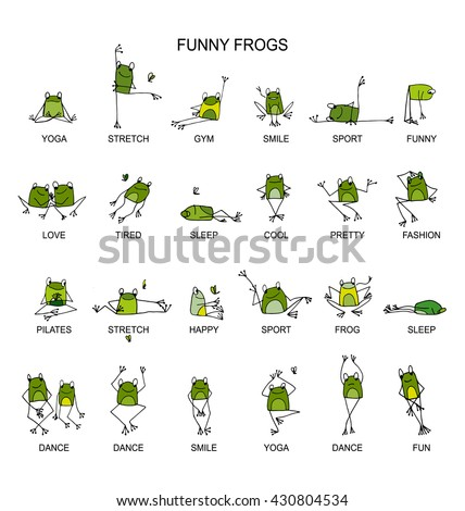 Funny frogs collection, sketch for your design - stock vector