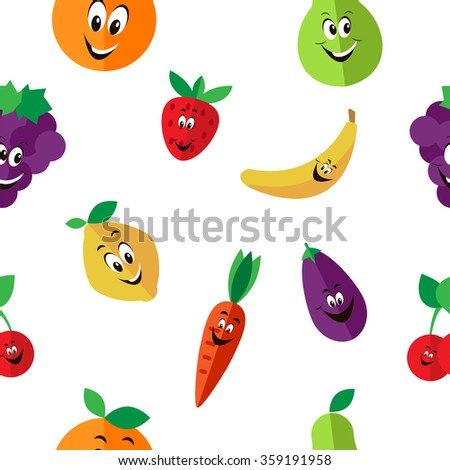 funny fruit cartoon pattern