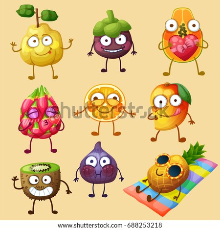 Funny fruit characters isolated on white background. Cheerful food emoji. Cartoon vector illustration: quince, mangosteen, papaya, orange, mango, kiwi, fig, pineapple, pitaya