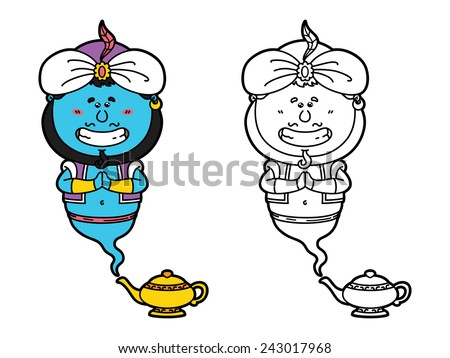 funny Genie. Vector illustration coloring page of happy cartoon Genie and his magic lamp  for children and scrap book   - stock vector