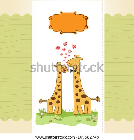 Funny giraffe couple in love