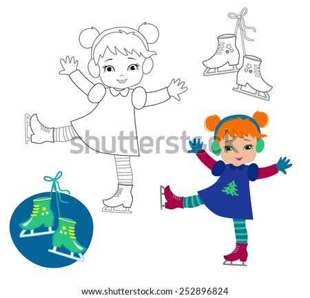 Funny girl in winter clothes on skates isolated on a white background. Coloring pages.Great illustration for school books, magazines, advertising and more. VECTOR. - stock vector