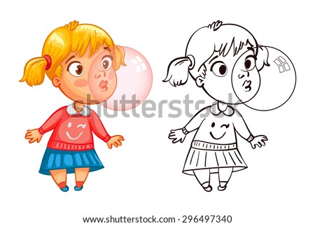 Funny girl inflates a bubble of gum. Funny cartoon character. Vector illustration. Coloring book. Isolated on white background - stock vector