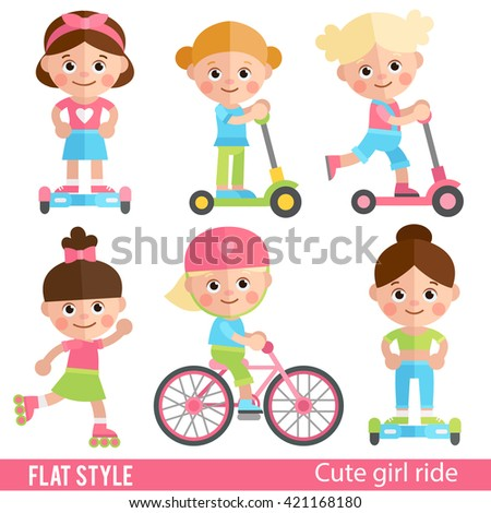 Funny girl riding on scooters, roller skates and bike. Cute children sports ride. A set of characters in a flat style. Girl on scooter. Girl on a skateboard. - stock vector