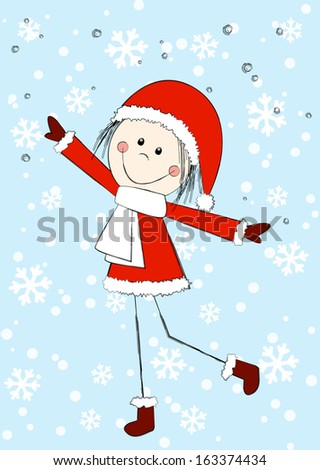 Funny girl wearing Santa costume