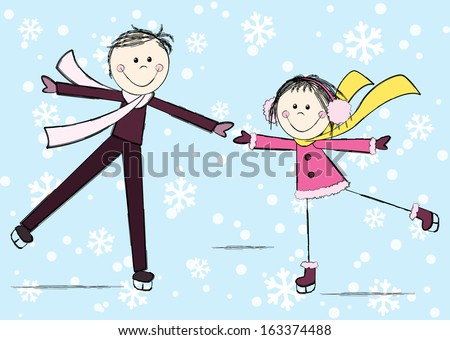 Funny girl with boy on winter background - stock vector