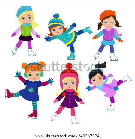 Funny girls in winter clothes ice skating isolated on white background . - stock vector