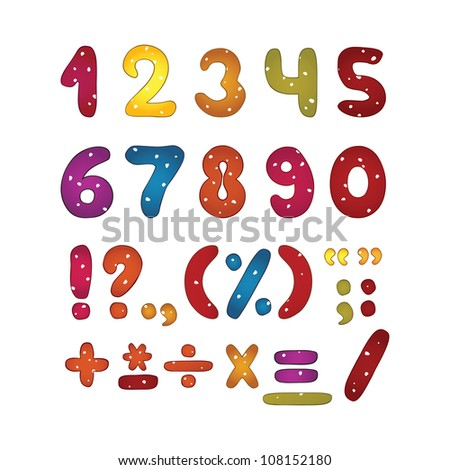 Funny glossy number set. Punctuation marks. Vector