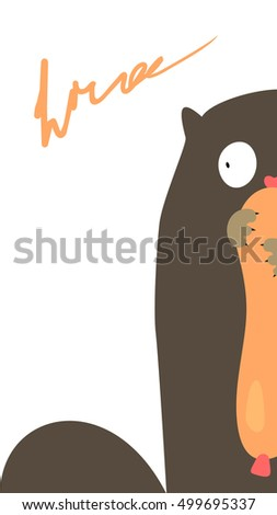 Funny gluttonous cat with sausage. Vector illustration.