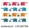 Funny Graphic Elephants Herd Collection. A set of colorful elephants. Vector illustration EPS8. - stock vector