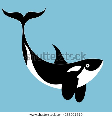 funny graphic great whales on a blue background - stock vector