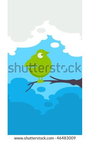 Funny green bird - stock vector
