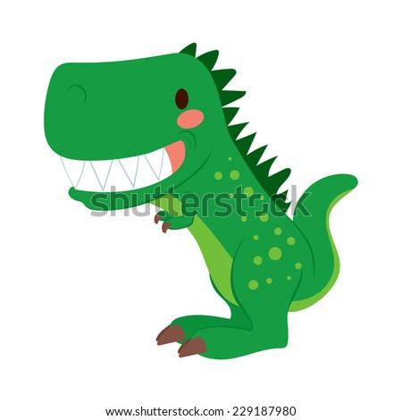 Funny green cartoon T-rex dinosaur toy showing teeth - stock vector