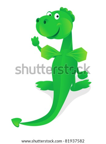 Funny green dragon. Color illustration