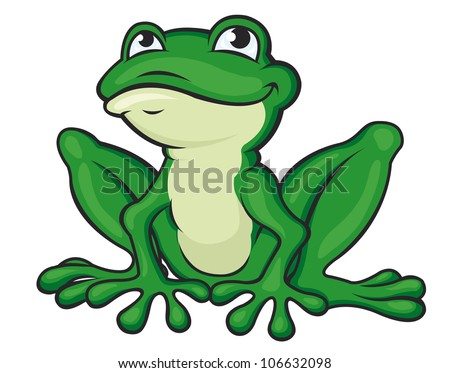Funny green frog - stock vector