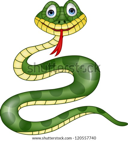 Funny green snake cartoon - stock vector